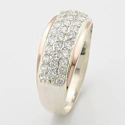 Кольцо серебряное женское с золотом Элит вставка белые фианиты размер 16