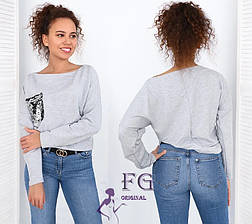 Легкая женская свободная кофта с карманом и пайетками рукав реглан серая, фото 2