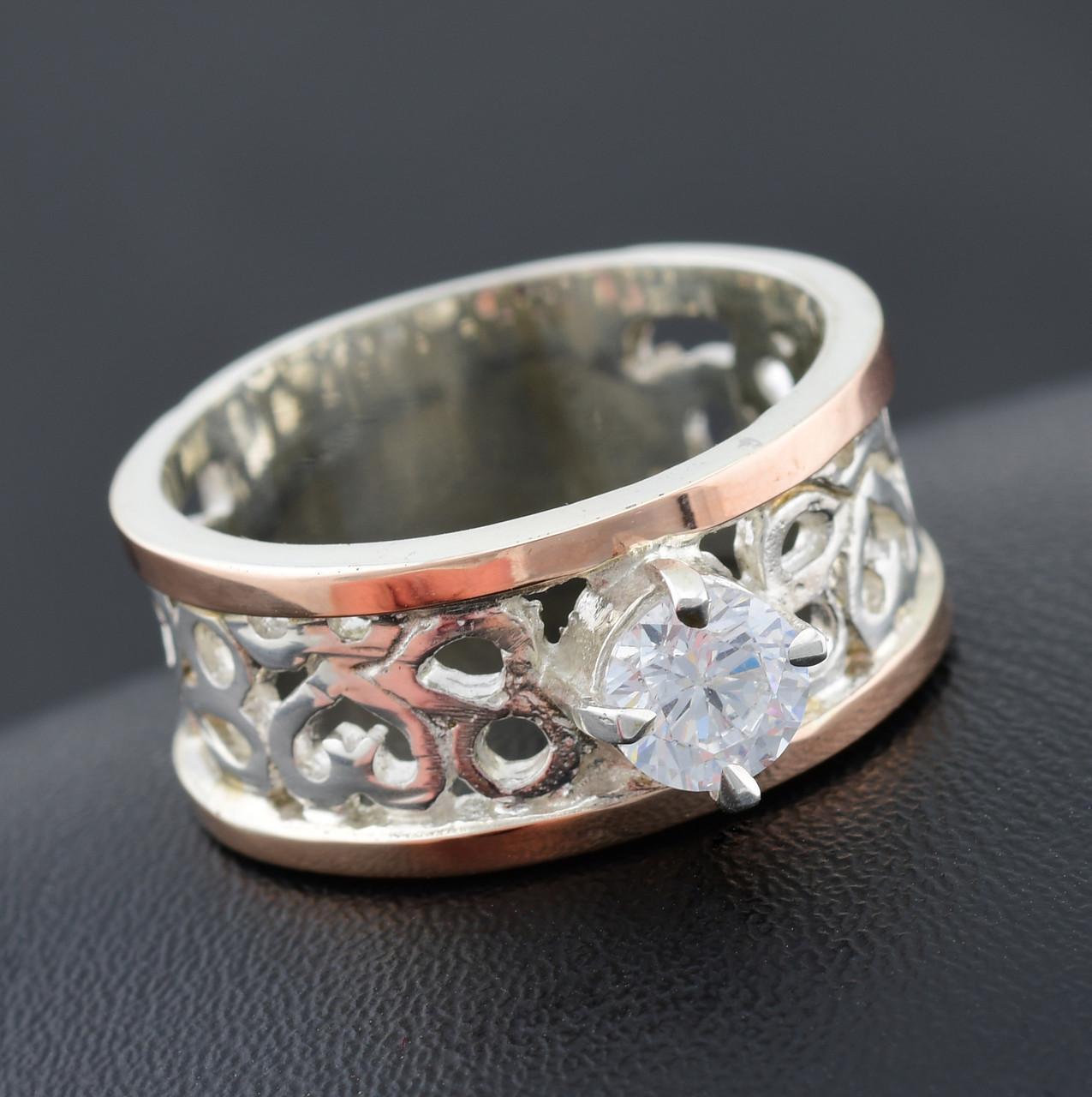 Серебряное кольцо с золотом Карина вставка белый фианит вес 7.0 г размер 20