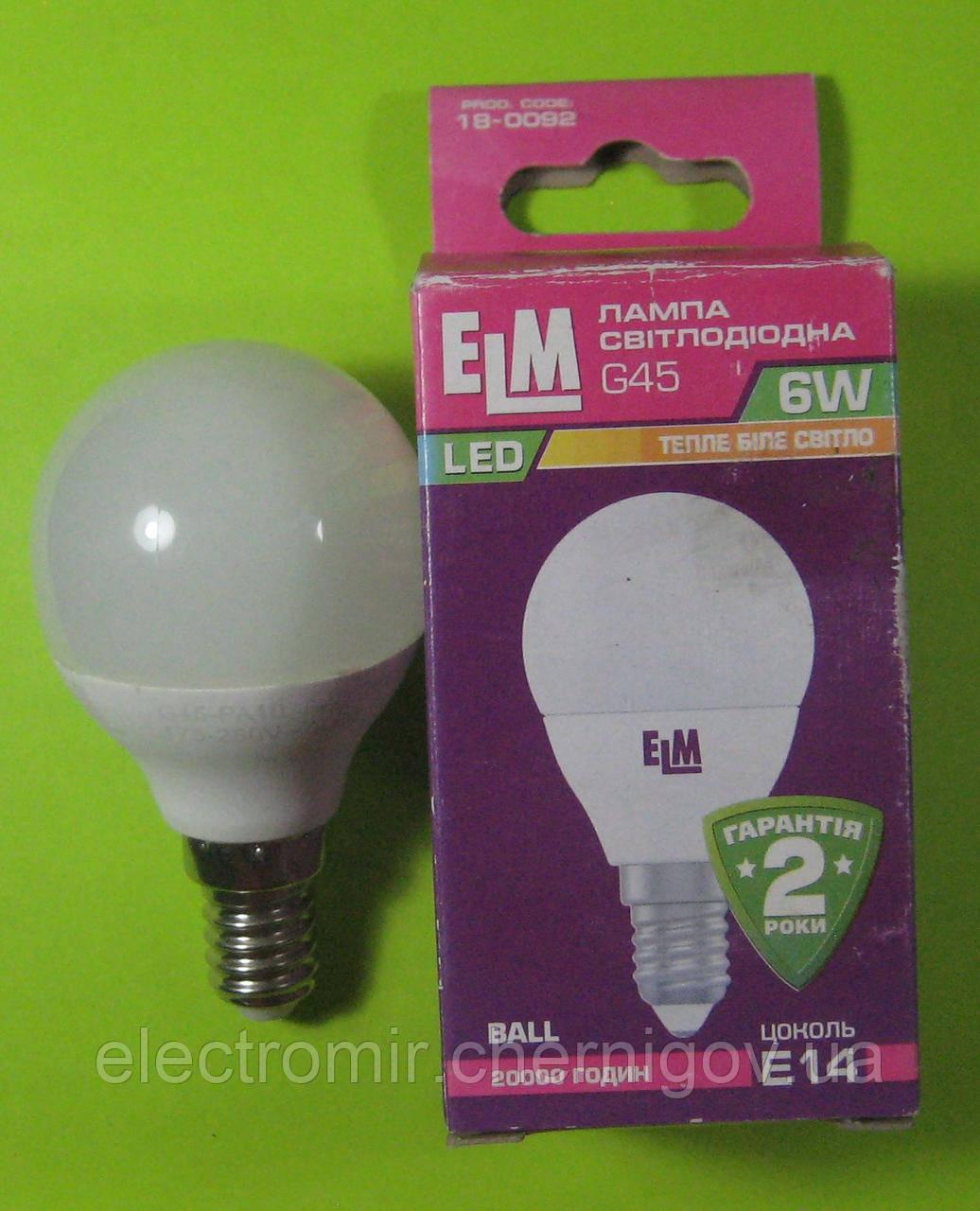Лампа светодиодная ELM 6W E14 3000K (сфера)