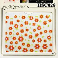 Наклейки для Ногтей Самоклеющиеся 3D HSC028 Красные Цветы с Зелеными Листьями Для Декора и Дизайна Ногтей
