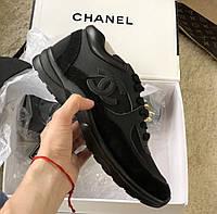 Черные  кроссовки Chanel Шанель кожа замша 2020 год в наличии кеды