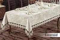 Скатерть  велюр-жаккард  прямоугольная  160х220+8 салфеток 35*35 Emerald  Grey, Турция