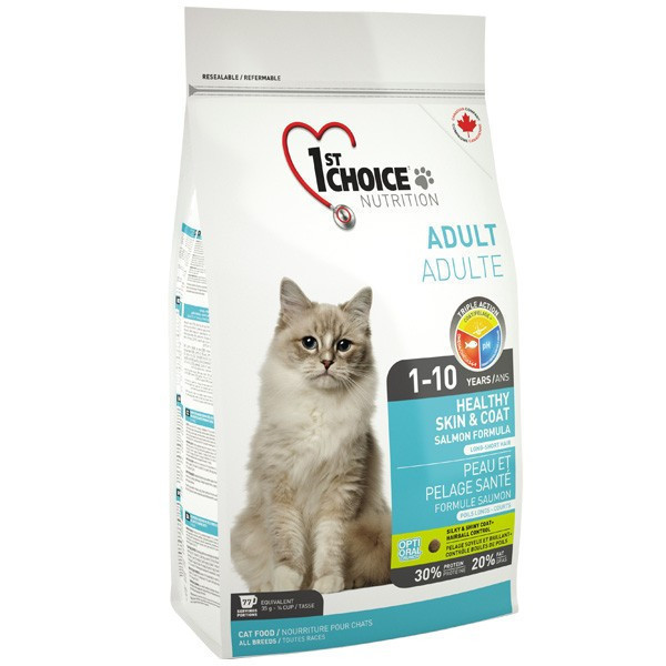 Сухой корм для взрослых котов 1st Choice Adult Healthy Skin & Coat со вкусом лосося 5,44 кг
