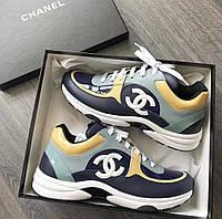 Синие кроссовки Chanel Шанель кожа замша 2020 год в наличии кеды