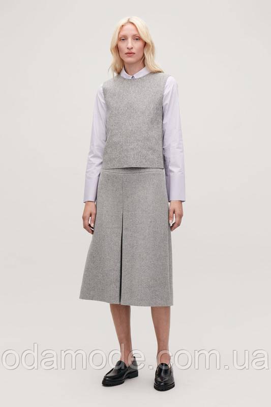 Женская юбка серая шерстяная COS