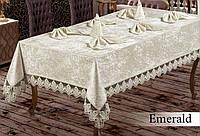 Скатерть  велюр-жаккард  прямоугольная  160х220+8 салфеток 35*35 Emerald  Cream, Турция