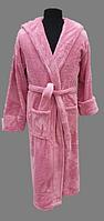 Халат махровый женский 2XL(52),3XL (54) длинный c капюшоном Welsoft (TM Zeron) розовый,  Турция