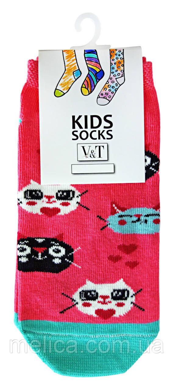 Носки детские Kids Socks V&T cлед ШДСг 024-549 Котики р.20-22 Розовый/бирюзовый