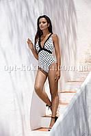 Слитный белый купальник в горошек ТМ Lorin 4224