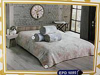 Покрывало на кровать двуспальное евро 200х220 хлопковое TM Zeron бежево-синий,, Турция