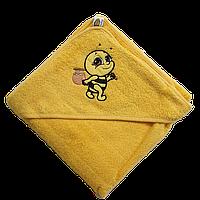 Полотенце детское для купанья с капюшоном махра 90*90 380г/м2 (TM Zeron), желтое Турция