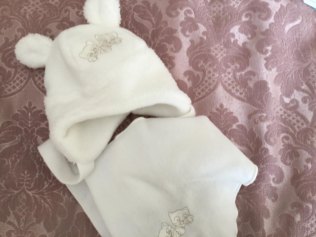 Флисовая шапочка для девочки с косынкой белого цвета