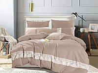 Комплект постельного белья Bella Villa Евро Сатин с кружевом бежевый