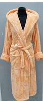 Халат махровый женский длинный c капюшоном Welsoft (TM Zeron), персиковый Турция