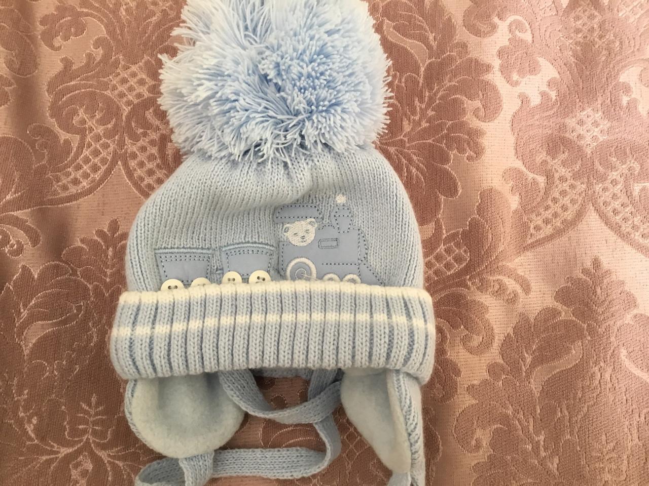 Теплая зимняя шапочка на флисе с помпоном Barbara's
