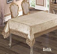 Праздничная скатерть велюр-жаккард на прямоугольный стол цвет капучино 160х220  ANTIK Cappuccino,  Турция