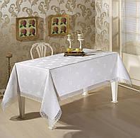 Турецкие Скатерти прямоугольные  160х220 на праздничный стол белый цвет  MAISON ROYAL
