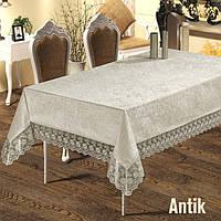 Люксовая велюровая  скатерть прямоугольная на стол цвет кремовый 160х220  ANTIK Crem,  Maison Royale Турция