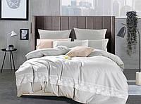 Комплект постельного белья Bella Villa  Евро Сатин с кружевом серый