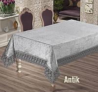 Скатерть велюр-жакард  прямоугольная серая на праздничный стол 160х220  ANTIK Gri, Maison Royale Турция