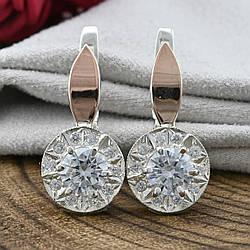Серебряные серьги с золотом размер 20х10 мм белые фианиты вес 4.9 г
