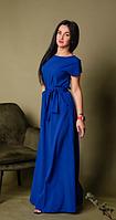 Летнее однотонное длинное платье размеры 44-46,48-50,52-54
