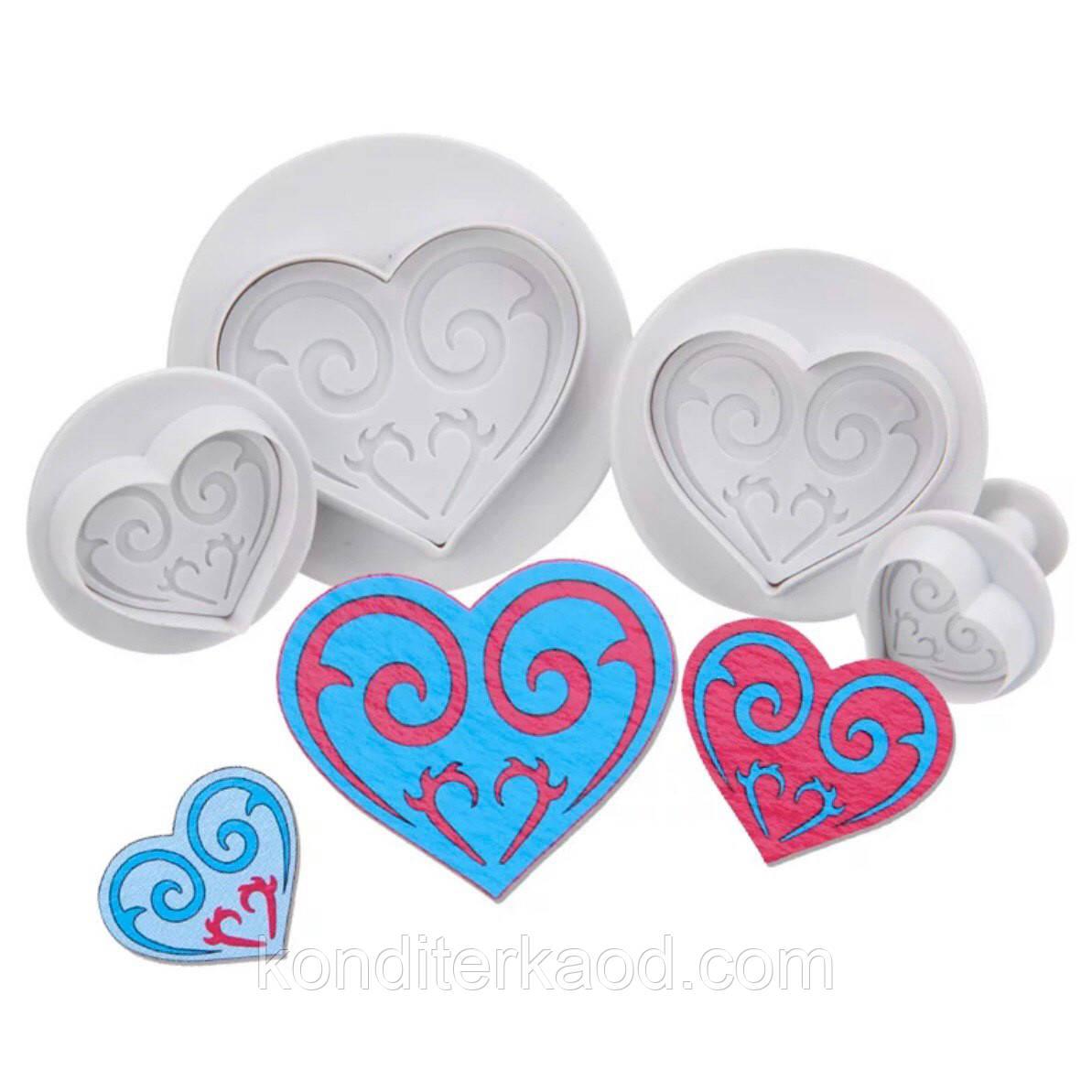 Плунжер Сердце ажурное 4 шт (кнопка)