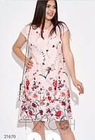 Платье полубатальное свободного кроя лён, фото 1