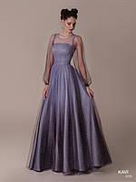 Топ! Выпускное блестящее платье с рукавами фонариками, модель KAVI 059