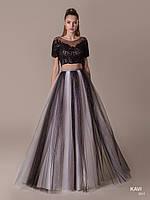 Топ! Оригинальное черно-белое Выпускное платье с блестками, модель KAVI 061