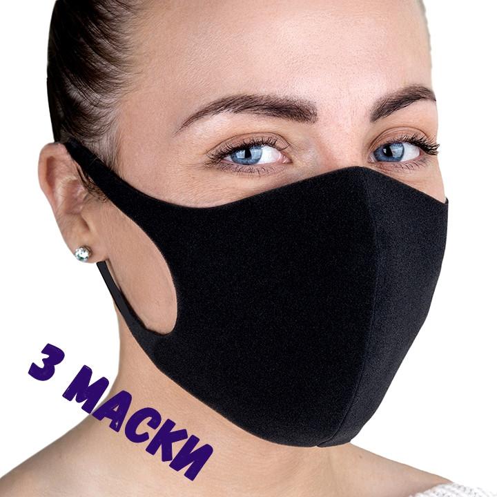 Маска защитная многоразовая (3 шт) для лица PT22 Черный