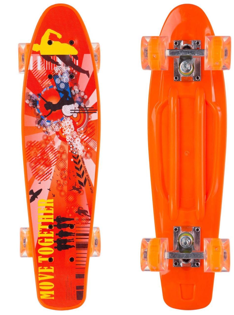 Скейт Пенні борд зі світними колесами Penny Print Led 54 см пенні борд