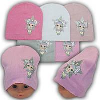 Весенние детские шапки LOL с ниткой люрекс р. 40-42 на 3-9 мес