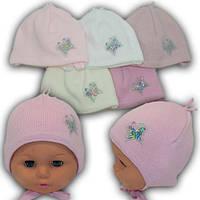 Детские шапки на завязках для новорожденных, р. 36-38