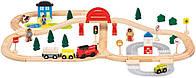 Детская деревянная железная дорога Bino (поезд, вагончики, машинка) 70 деталей