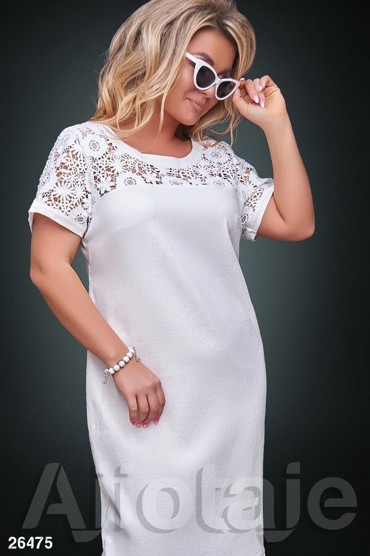 Платье льняное свободного кроя белое с гипюром