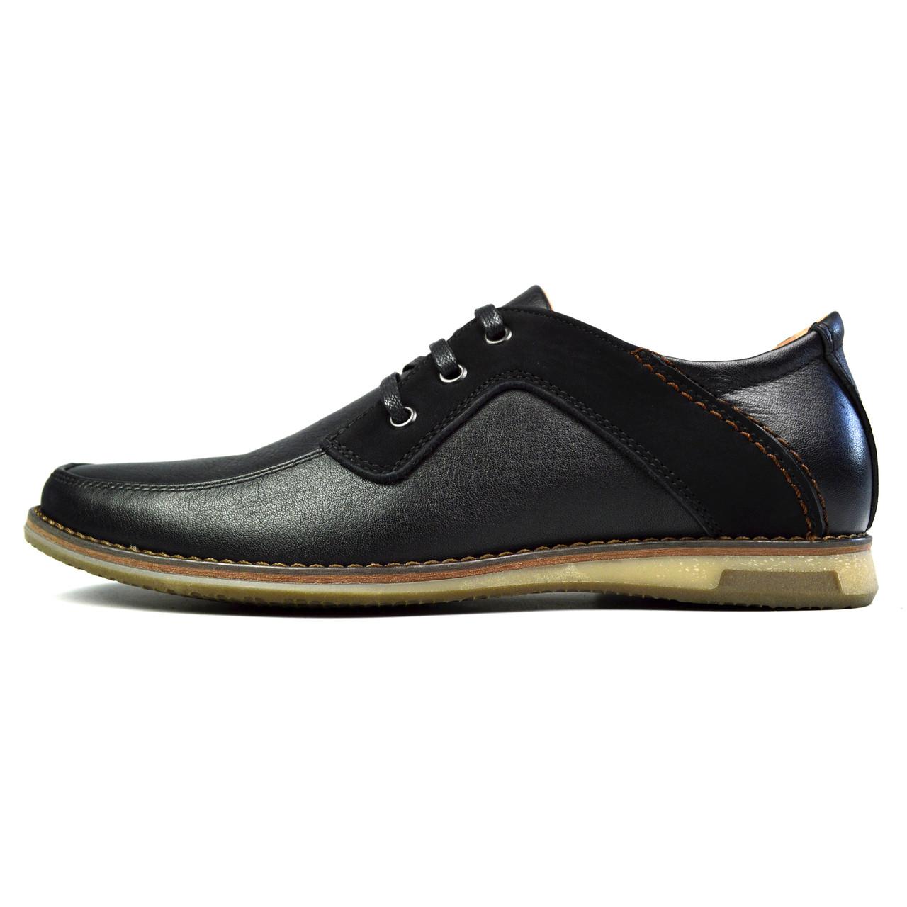 Черные мужские кожаные туфли комфорт SSS SHOES без каблука