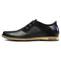 Черные мужские кожаные туфли комфорт SSS SHOES без каблука, фото 1