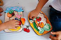 Сортер деревянный, деревянные игрушки, овощи, сортер-пазл, пазлы Овощи, развивающие игрушки