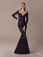 Топ! Кружевное платье с длинными рукавами на Выпускной, модель KAVI 066
