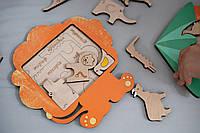 Сортер пазл , пазл вкладыш, деревянные игрушки, вкладыши Дикие животные