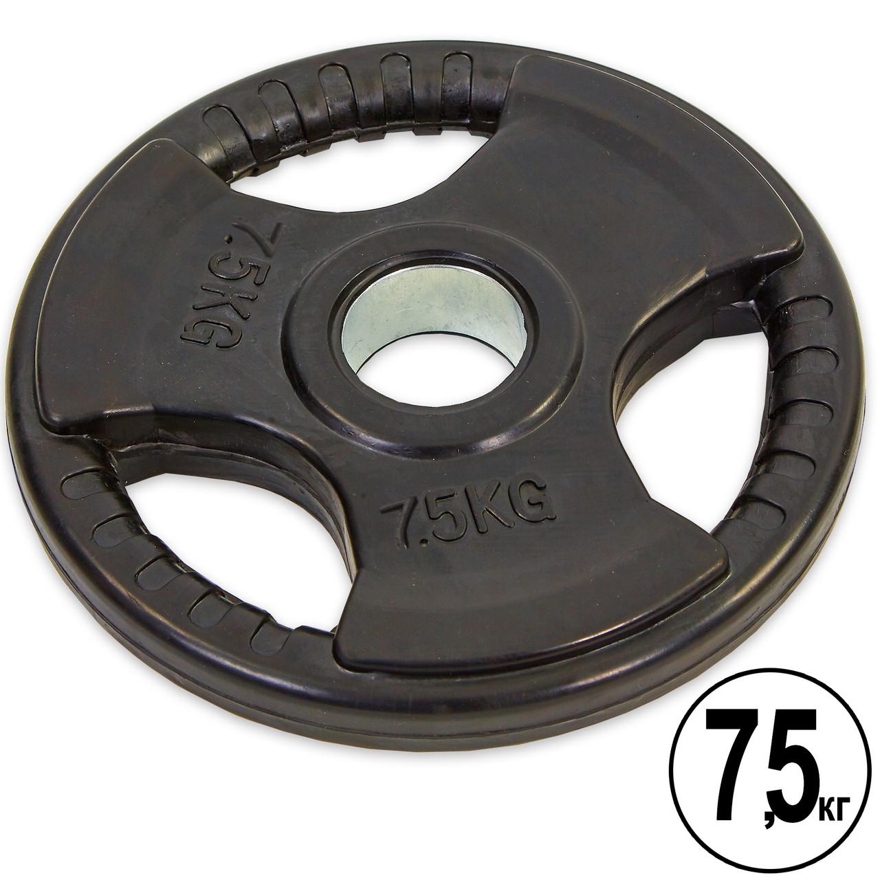 Блины (диски) обрезиненные с тройным хватом и металлической втулкой d-52мм TA-8122- 7,5 7,5кг (черный)