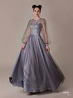 Топ! Длинное выпускное платье с рукавами фонариками, модель KAVI 71