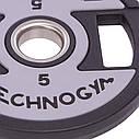 Блины (диски) полиуретановые с хватом и металлической втулкой d-51мм TECHNOGYM TG-1837-5 5кг (черный), фото 2
