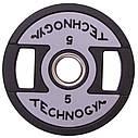 Блины (диски) полиуретановые с хватом и металлической втулкой d-51мм TECHNOGYM TG-1837-5 5кг (черный), фото 3