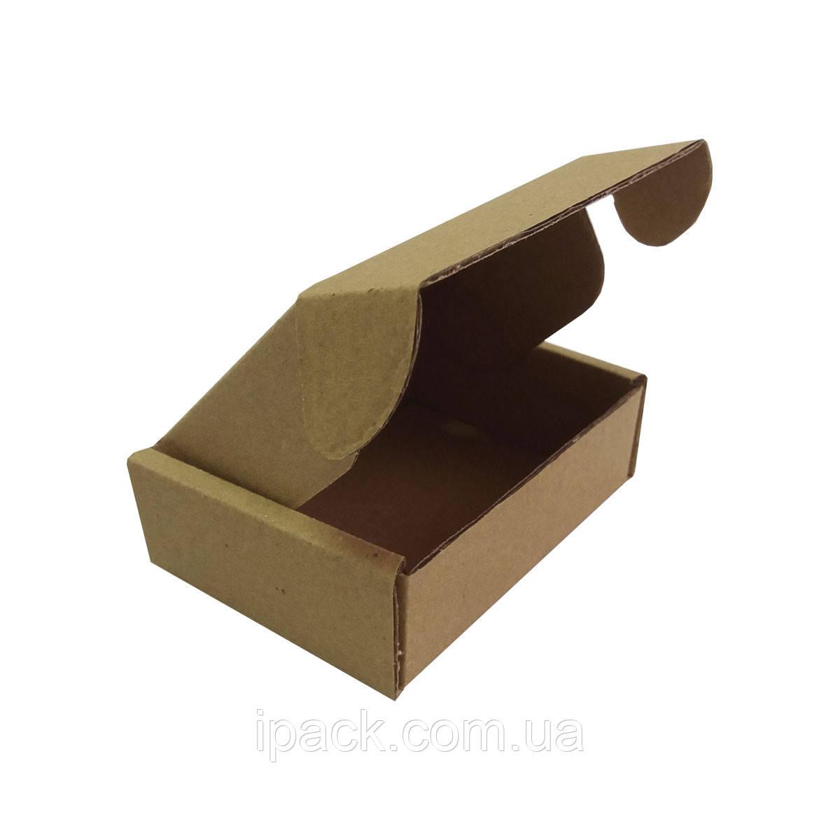 Коробка картонная самосборная 85*48*35 мм бурая крафт микрогофрокартон