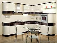 Кухня с комбинироваными фасадами покраска+шпон
