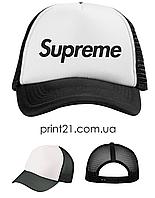 Кепка Тракер черно-белая с принтом Supreme унисекс