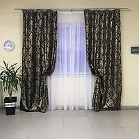Комплект штор 2 шт из жаккарда, рисунок с люрексом, коричневый цвет, ширина 1.5м высота 2.7м